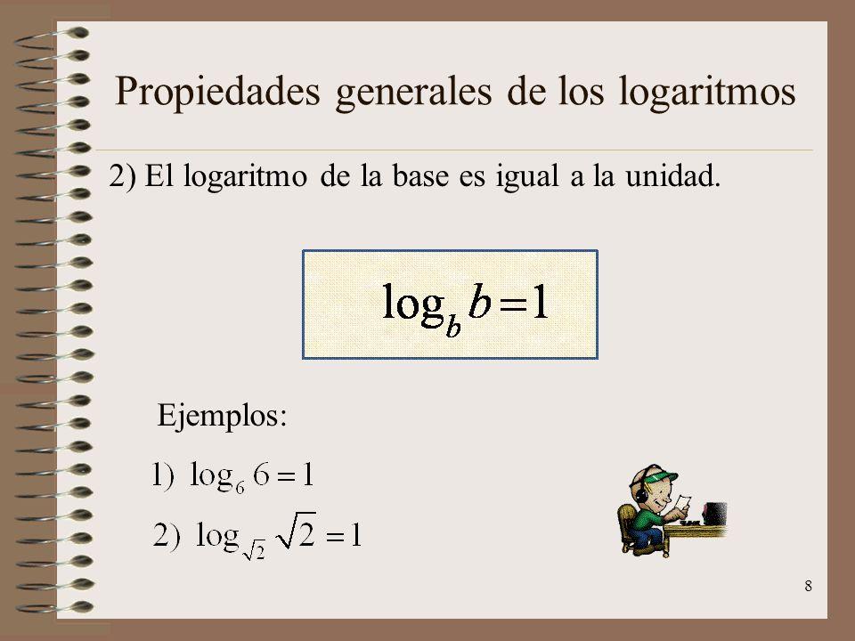 Propiedades generales de los logaritmos 1) El logaritmo de 1, en cualquier base, es igual a cero. Ejemplos: 7