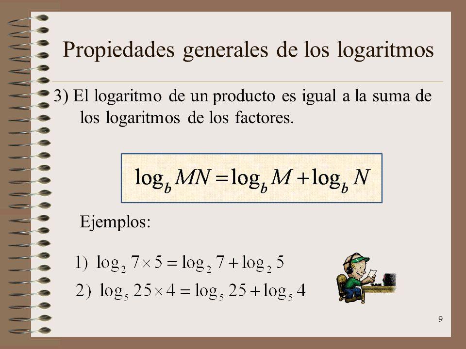 Propiedades generales de los logaritmos 2) El logaritmo de la base es igual a la unidad. Ejemplos: 8