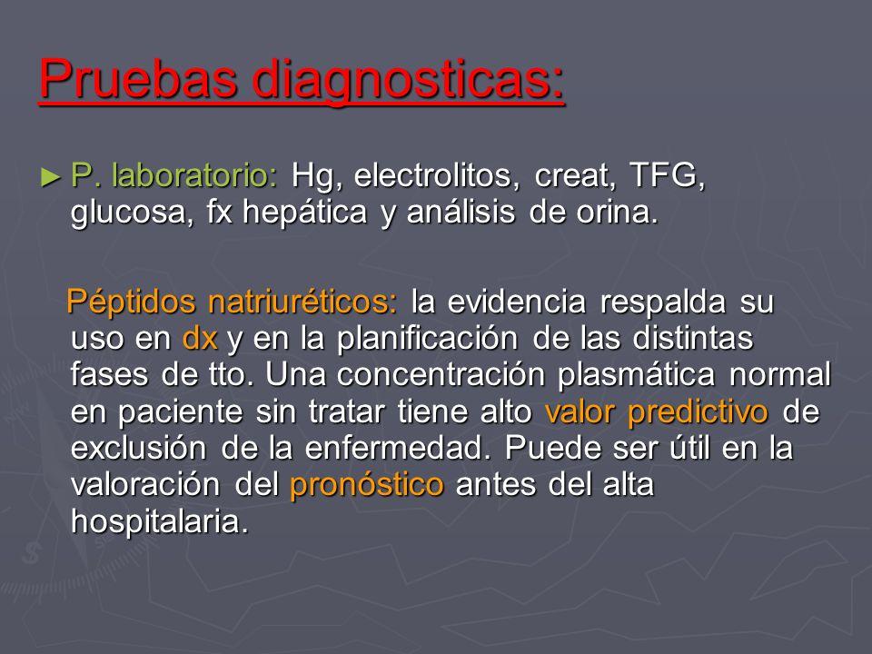 Pruebas diagnosticas: P. laboratorio: Hg, electrolitos, creat, TFG, glucosa, fx hepática y análisis de orina. P. laboratorio: Hg, electrolitos, creat,