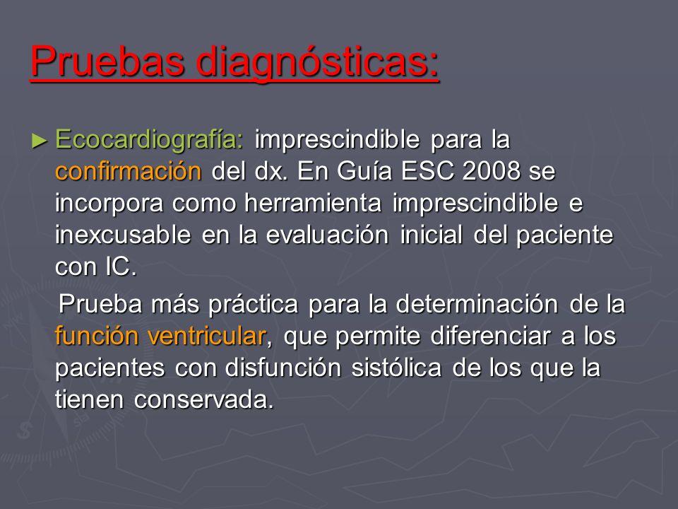 Pruebas diagnósticas: Ecocardiografía: imprescindible para la confirmación del dx. En Guía ESC 2008 se incorpora como herramienta imprescindible e ine