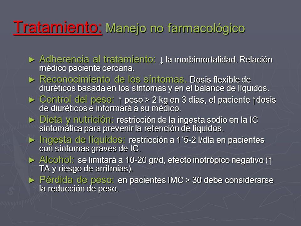Tratamiento: Manejo no farmacológico Adherencia al tratamiento: la morbimortalidad. Relación médico paciente cercana. Adherencia al tratamiento: la mo
