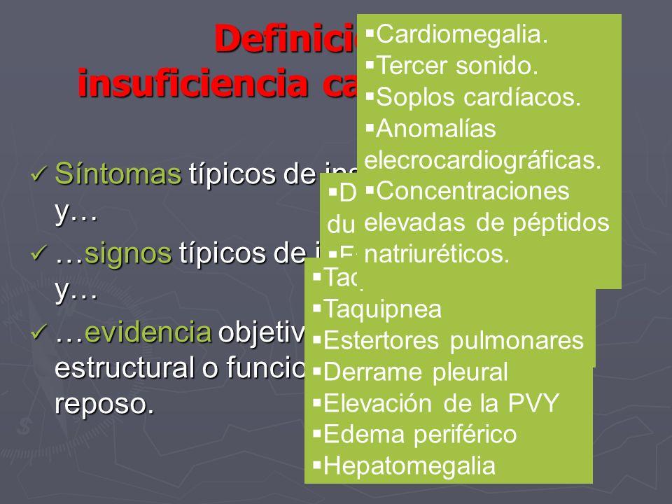 Definición de insuficiencia cardiaca (SCE) Síntomas típicos de insuficiencia cardiaca y… Síntomas típicos de insuficiencia cardiaca y… …signos típicos