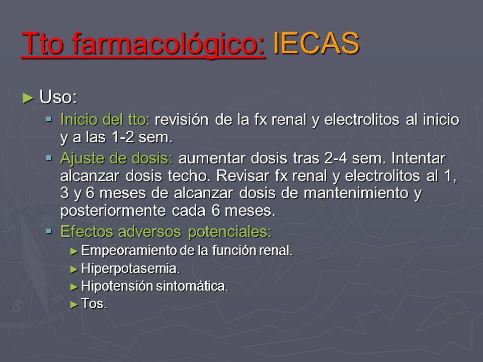 Tto farmacológico: IECAS Uso: Uso: Inicio del tto: revisión de la fx renal y electrolitos al inicio y a las 1-2 sem. Inicio del tto: revisión de la fx
