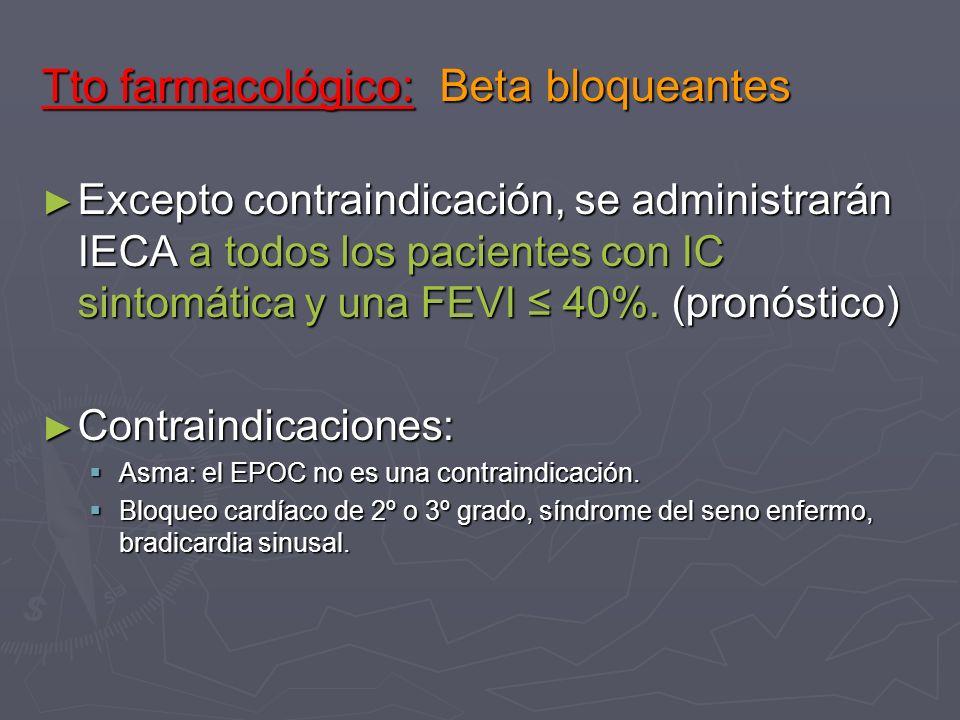 Tto farmacológico: Beta bloqueantes Excepto contraindicación, se administrarán IECA a todos los pacientes con IC sintomática y una FEVI 40%. (pronósti