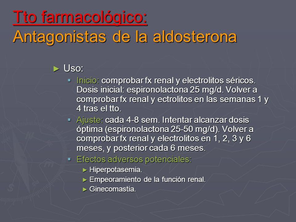 Tto farmacológico: Antagonistas de la aldosterona Uso: Uso: Inicio: comprobar fx renal y electrolitos séricos. Dosis inicial: espironolactona 25 mg/d.