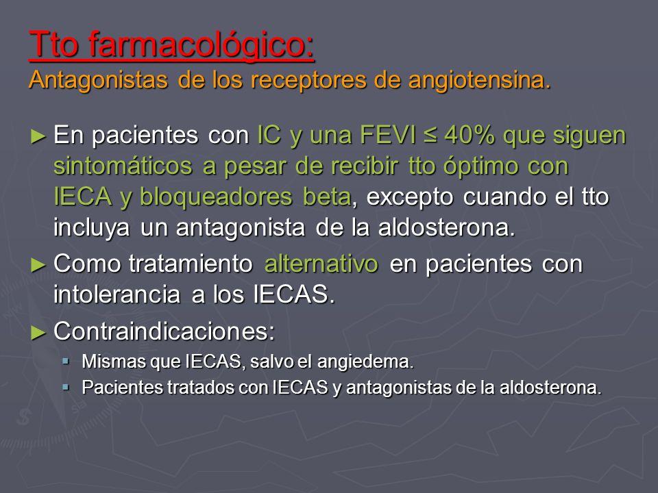 Tto farmacológico: Antagonistas de los receptores de angiotensina. En pacientes con IC y una FEVI 40% que siguen sintomáticos a pesar de recibir tto ó