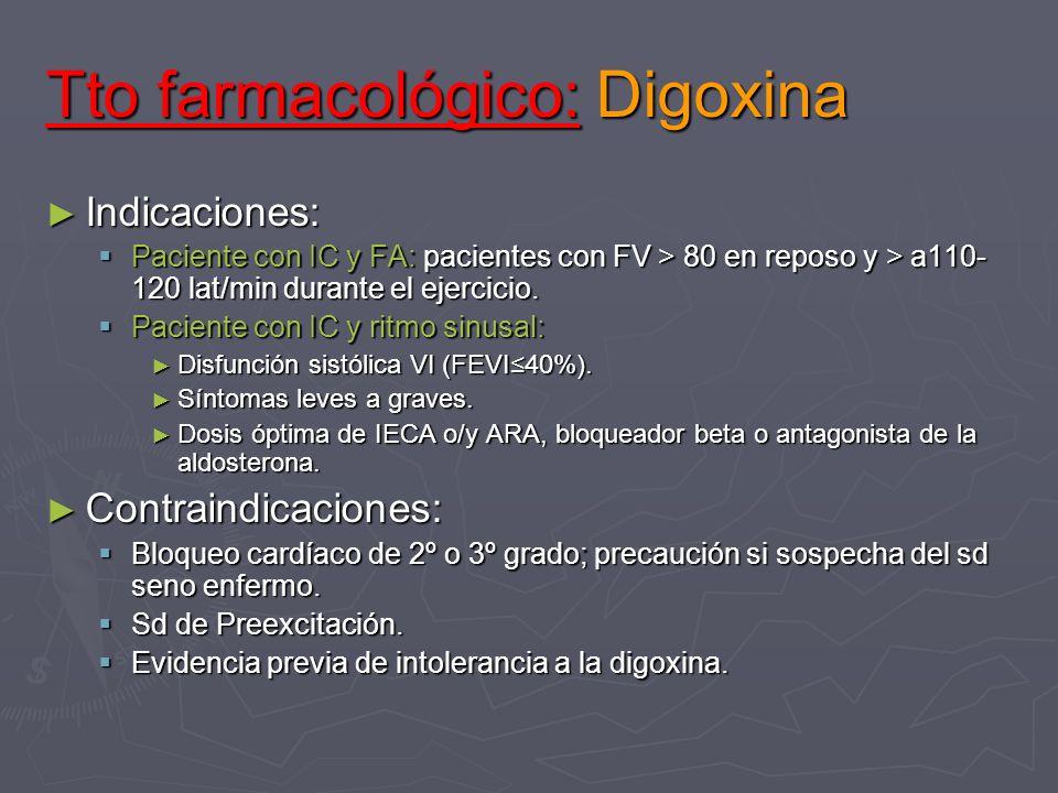 Tto farmacológico: Digoxina Indicaciones: Indicaciones: Paciente con IC y FA: pacientes con FV > 80 en reposo y > a110- 120 lat/min durante el ejercic
