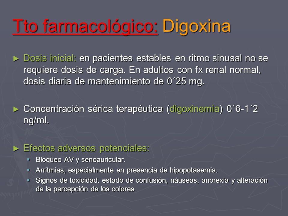 Tto farmacológico: Digoxina Dosis inicial: en pacientes estables en ritmo sinusal no se requiere dosis de carga. En adultos con fx renal normal, dosis