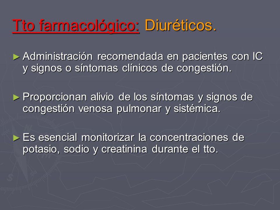 Tto farmacológico: Diuréticos. Administración recomendada en pacientes con IC y signos o síntomas clínicos de congestión. Administración recomendada e