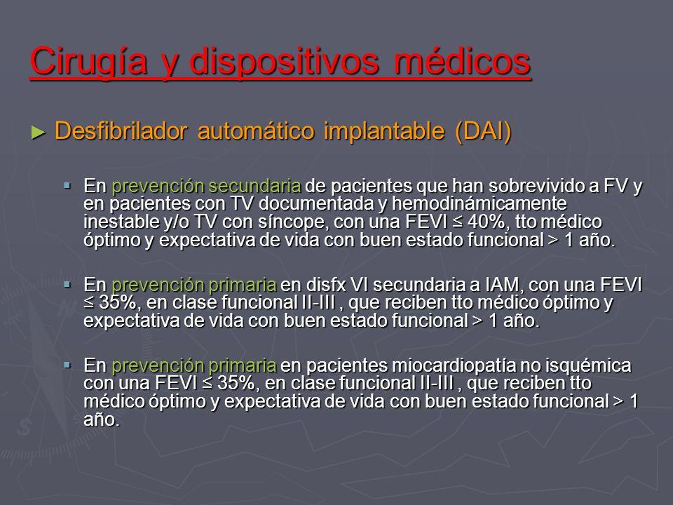 Cirugía y dispositivos médicos Desfibrilador automático implantable (DAI) Desfibrilador automático implantable (DAI) En prevención secundaria de pacie