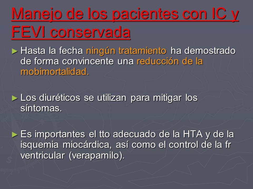 Manejo de los pacientes con IC y FEVI conservada Hasta la fecha ningún tratamiento ha demostrado de forma convincente una reducción de la mobimortalid