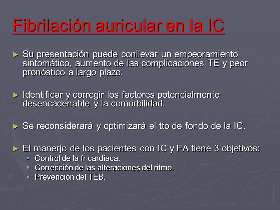 Fibrilación auricular en la IC Su presentación puede conllevar un empeoramiento sintomático, aumento de las complicaciones TE y peor pronóstico a larg
