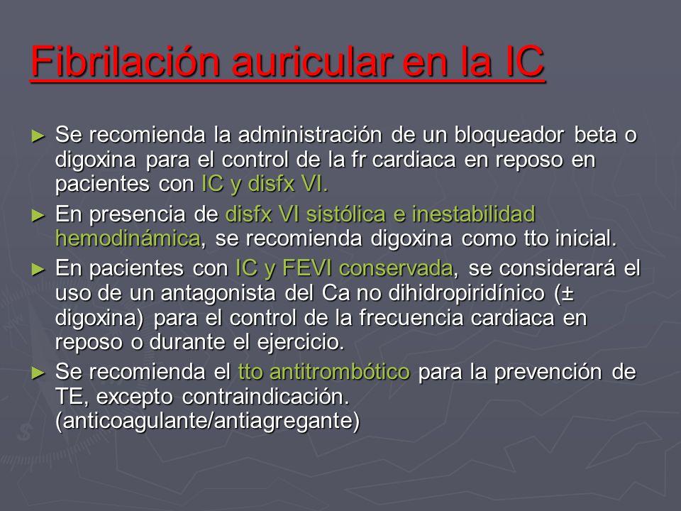 Fibrilación auricular en la IC Se recomienda la administración de un bloqueador beta o digoxina para el control de la fr cardiaca en reposo en pacient