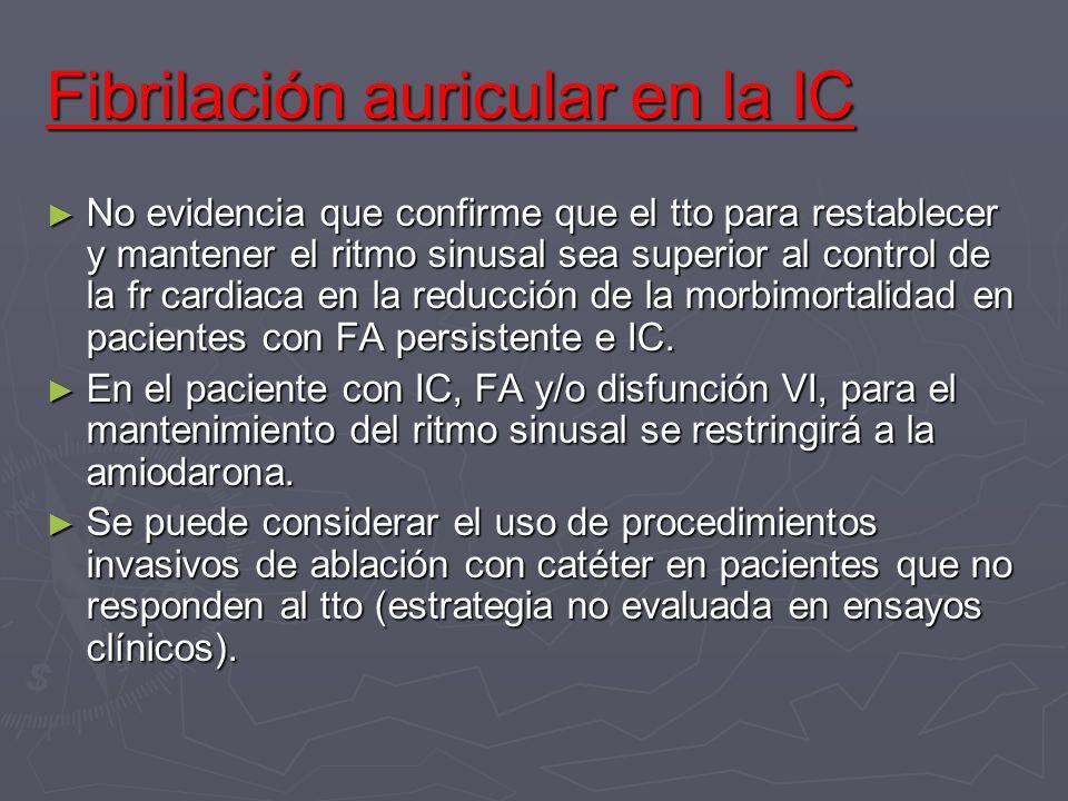 Fibrilación auricular en la IC No evidencia que confirme que el tto para restablecer y mantener el ritmo sinusal sea superior al control de la fr card