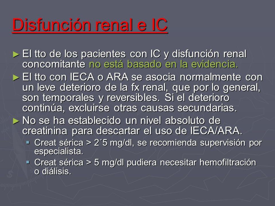 Disfunción renal e IC El tto de los pacientes con IC y disfunción renal concomitante no está basado en la evidencia. El tto de los pacientes con IC y