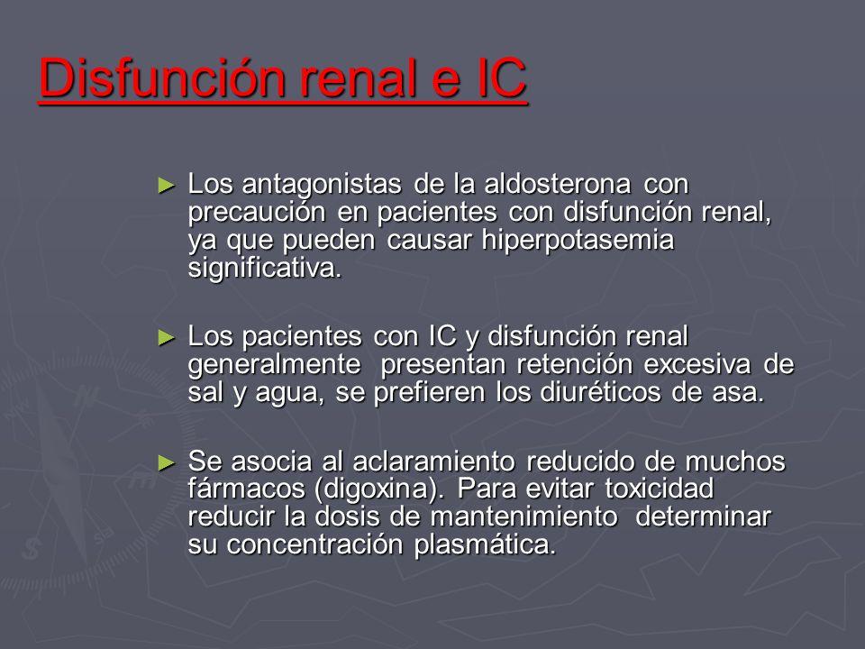 Disfunción renal e IC Los antagonistas de la aldosterona con precaución en pacientes con disfunción renal, ya que pueden causar hiperpotasemia signifi