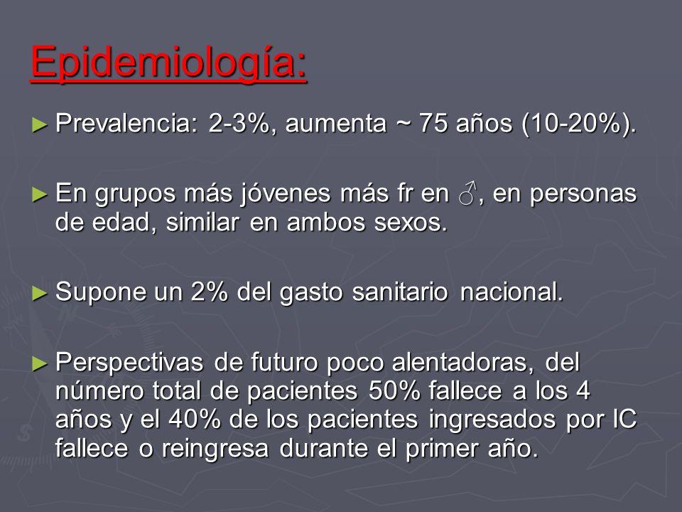 Epidemiología: Prevalencia: 2-3%, aumenta ~ 75 años (10-20%). Prevalencia: 2-3%, aumenta ~ 75 años (10-20%). En grupos más jóvenes más fr en, en perso
