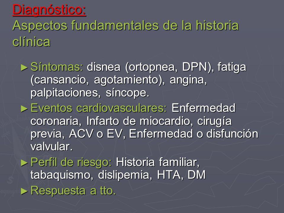 Diagnóstico: Aspectos fundamentales de la historia clínica Síntomas: disnea (ortopnea, DPN), fatiga (cansancio, agotamiento), angina, palpitaciones, s