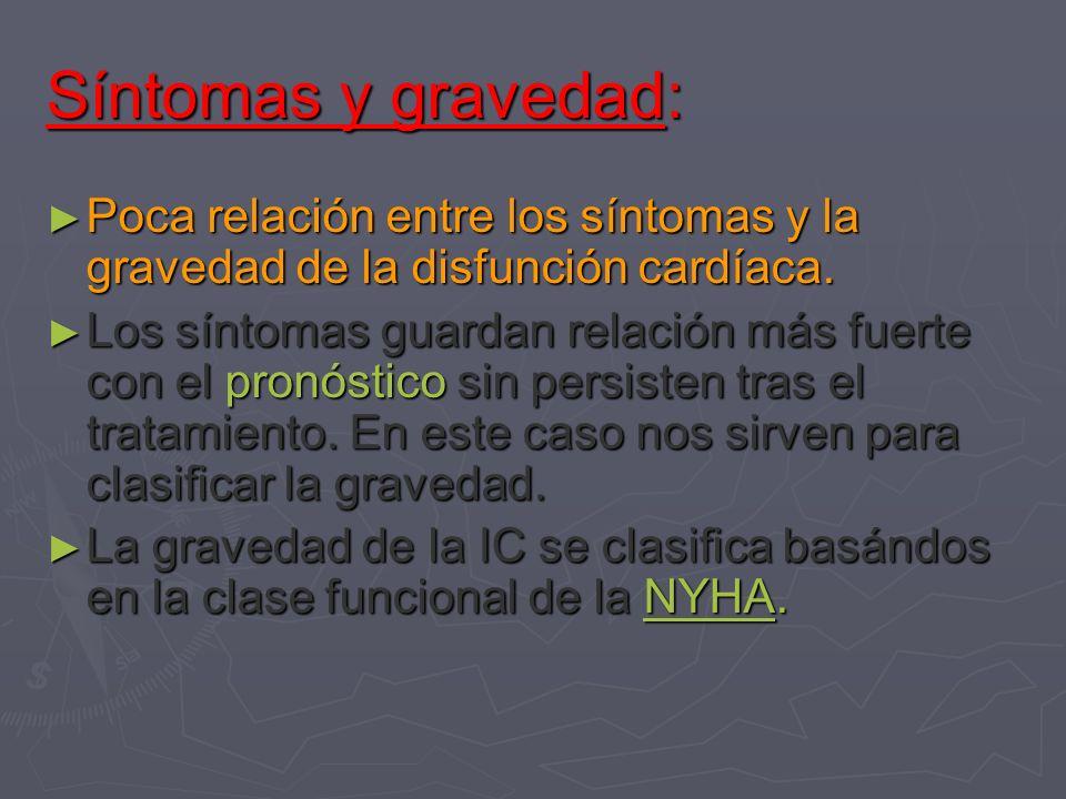 Síntomas y gravedad: Poca relación entre los síntomas y la gravedad de la disfunción cardíaca. Poca relación entre los síntomas y la gravedad de la di