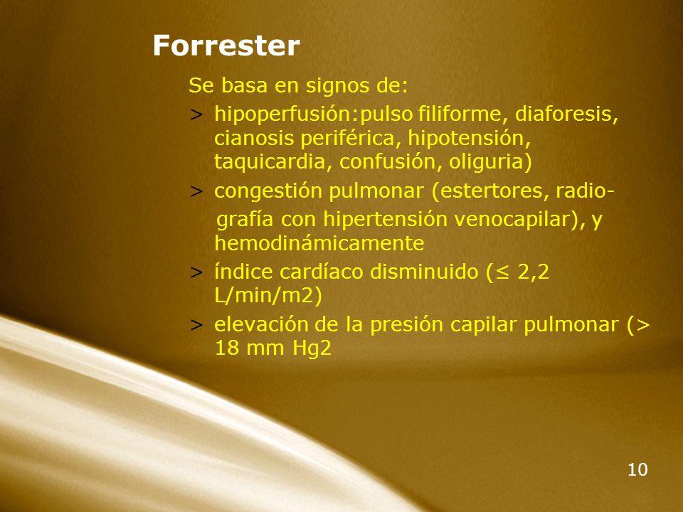 10 Forrester Se basa en signos de: >hipoperfusión:pulso filiforme, diaforesis, cianosis periférica, hipotensión, taquicardia, confusión, oliguria) >co