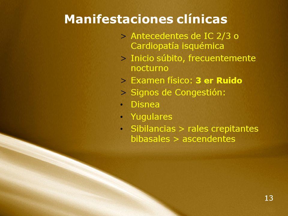 13 Manifestaciones clínicas >Antecedentes de IC 2/3 o Cardiopatía isquémica >Inicio súbito, frecuentemente nocturno >Examen físico: 3 er Ruido >Signos