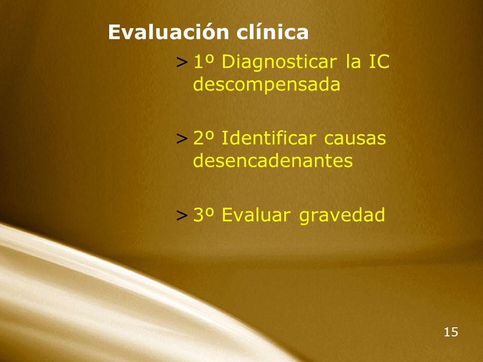 15 Evaluación clínica >1º Diagnosticar la IC descompensada >2º Identificar causas desencadenantes >3º Evaluar gravedad