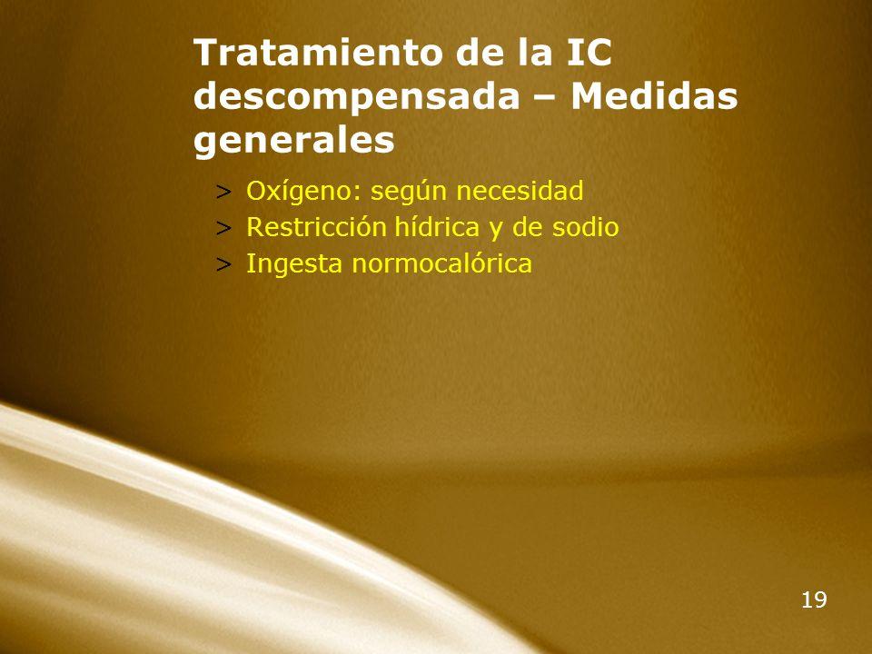 19 Tratamiento de la IC descompensada – Medidas generales >Oxígeno: según necesidad >Restricción hídrica y de sodio >Ingesta normocalórica