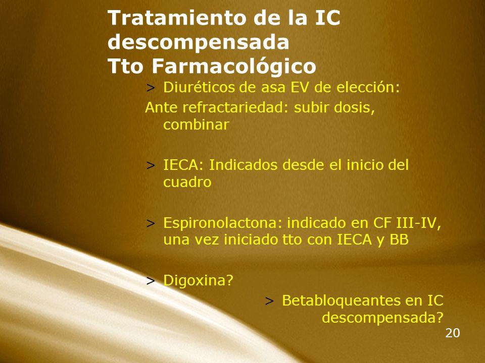 20 Tratamiento de la IC descompensada Tto Farmacológico >Diuréticos de asa EV de elección: Ante refractariedad: subir dosis, combinar >IECA: Indicados
