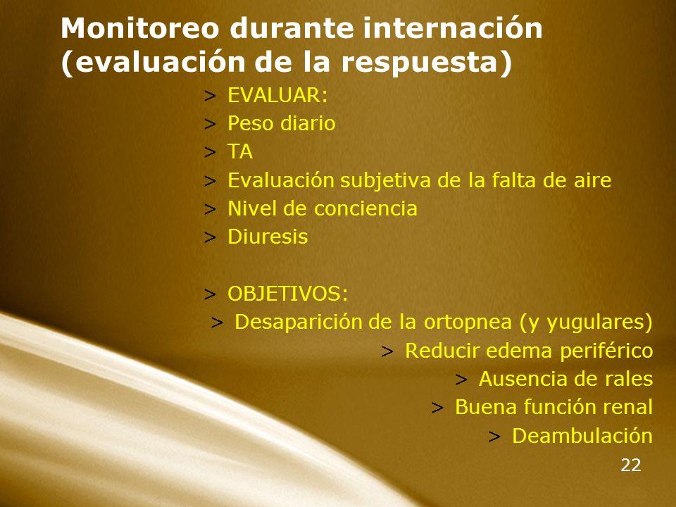 22 Monitoreo durante internación (evaluación de la respuesta) >EVALUAR: >Peso diario >TA >Evaluación subjetiva de la falta de aire >Nivel de concienci