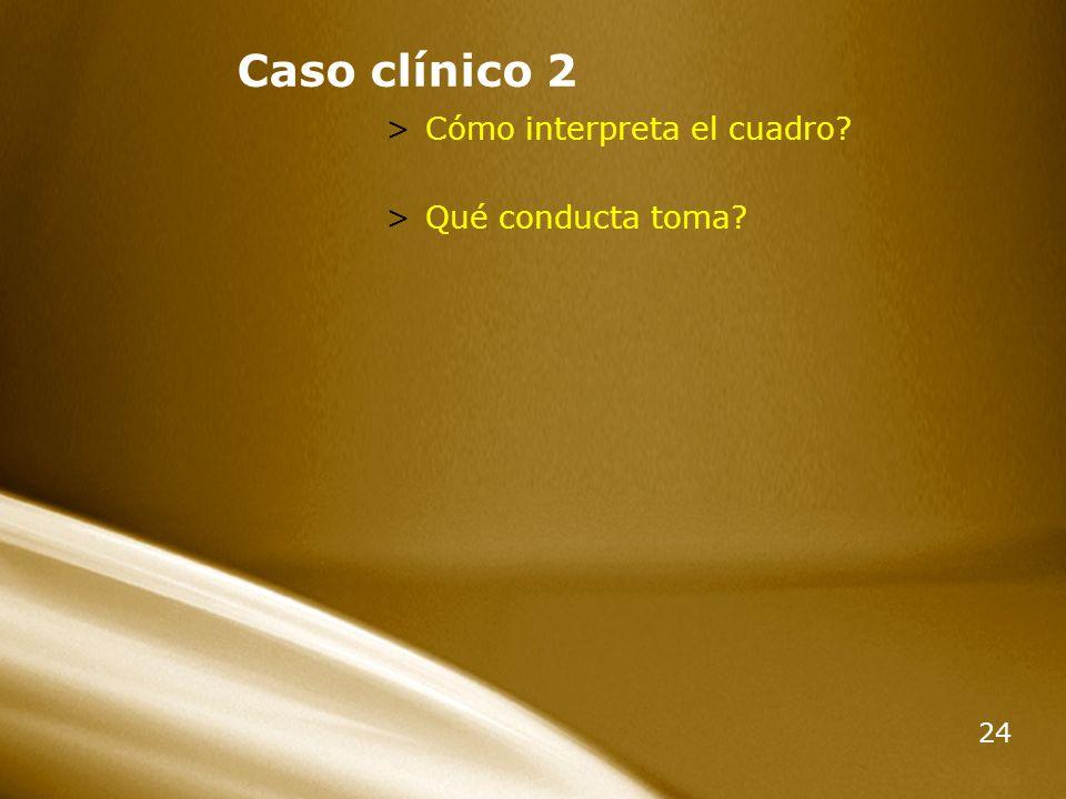 24 Caso clínico 2 >Cómo interpreta el cuadro? >Qué conducta toma?