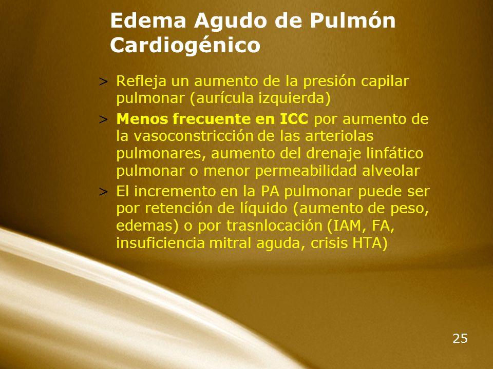 25 Edema Agudo de Pulmón Cardiogénico >Refleja un aumento de la presión capilar pulmonar (aurícula izquierda) >Menos frecuente en ICC por aumento de l