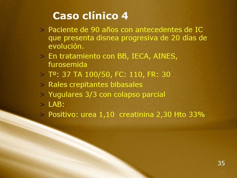 35 Caso clínico 4 >Paciente de 90 años con antecedentes de IC que presenta disnea progresiva de 20 días de evolución. >En tratamiento con BB, IECA, AI