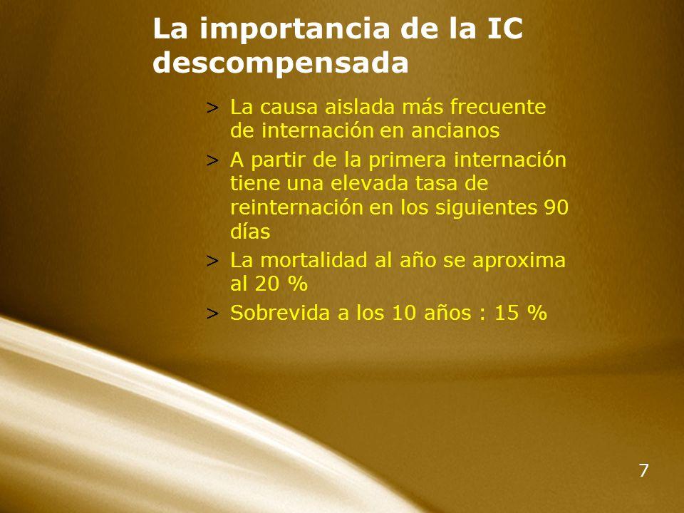 7 La importancia de la IC descompensada >La causa aislada más frecuente de internación en ancianos >A partir de la primera internación tiene una eleva