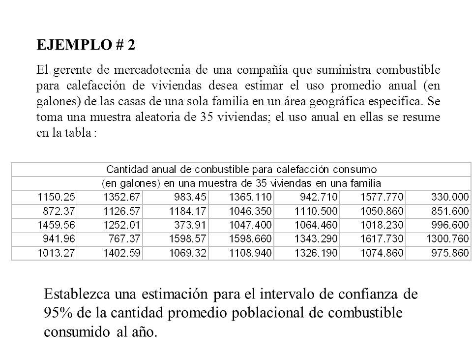 EJEMPLO # 2 El gerente de mercadotecnia de una compañía que suministra combustible para calefacción de viviendas desea estimar el uso promedio anual (