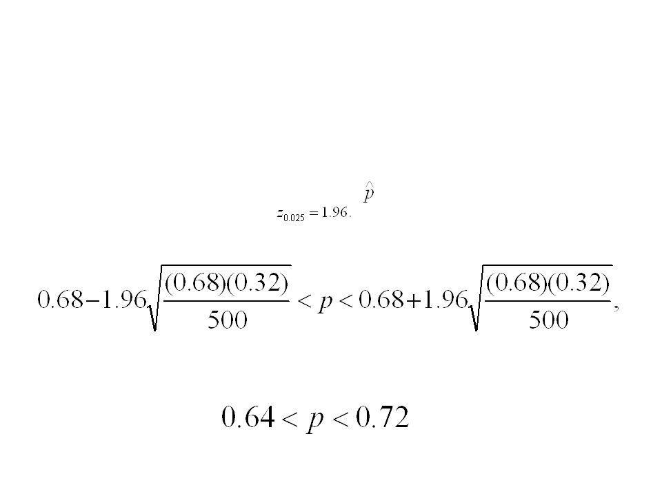 Ejemplo 7.10 En una muestra aleatoria de n = 500 familias que poseen televisiones en la ciudad de Hamilton, Canadá, se encontró que x = 340 se habían suscrito a la HBO.