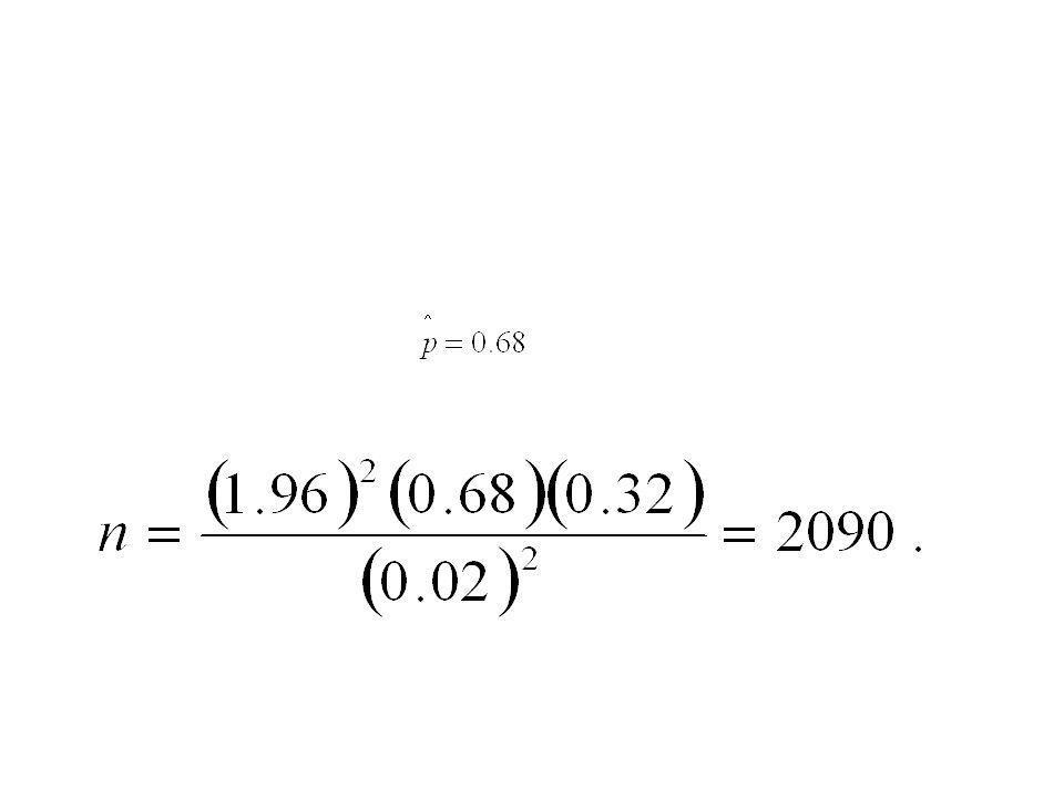 Ejemplo 7.11 ¿Qué tan grande se requiere que sea una muestra en el ejemplo 7.10 si se desea tener una confianza del 95% de que la estimación de p estará dentro de 0.02.
