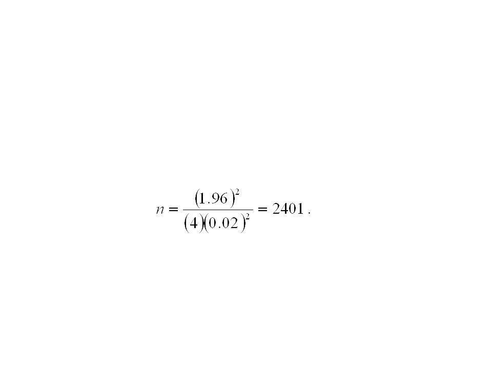 Ejemplo 7.12 ¿Qué tan grande se requiere que sea una muestra en el ejemplo 7.10 si se desea tener una confianza al menos de 95% de que la estimación de p estará dentro de 0.02.