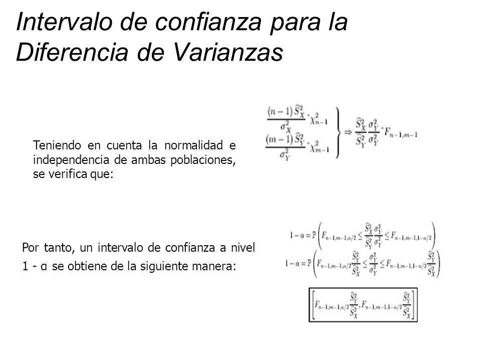 Intervalo de confianza para la Diferencia de Varianzas Teniendo en cuenta la normalidad e independencia de ambas poblaciones, se verifica que: Por tanto, un intervalo de confianza a nivel 1 - α se obtiene de la siguiente manera: