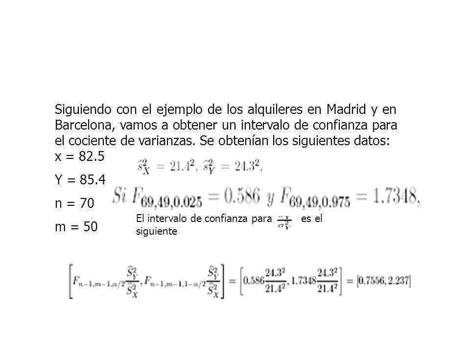 EJEMPLO Siguiendo con el ejemplo de los alquileres en Madrid y en Barcelona, vamos a obtener un intervalo de confianza para el cociente de varianzas.