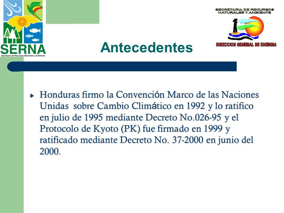 Antecedentes Honduras firmo la Convenci ó n Marco de las Naciones Unidas sobre Cambio Clim á tico en 1992 y lo ratifico en julio de 1995 mediante Decr