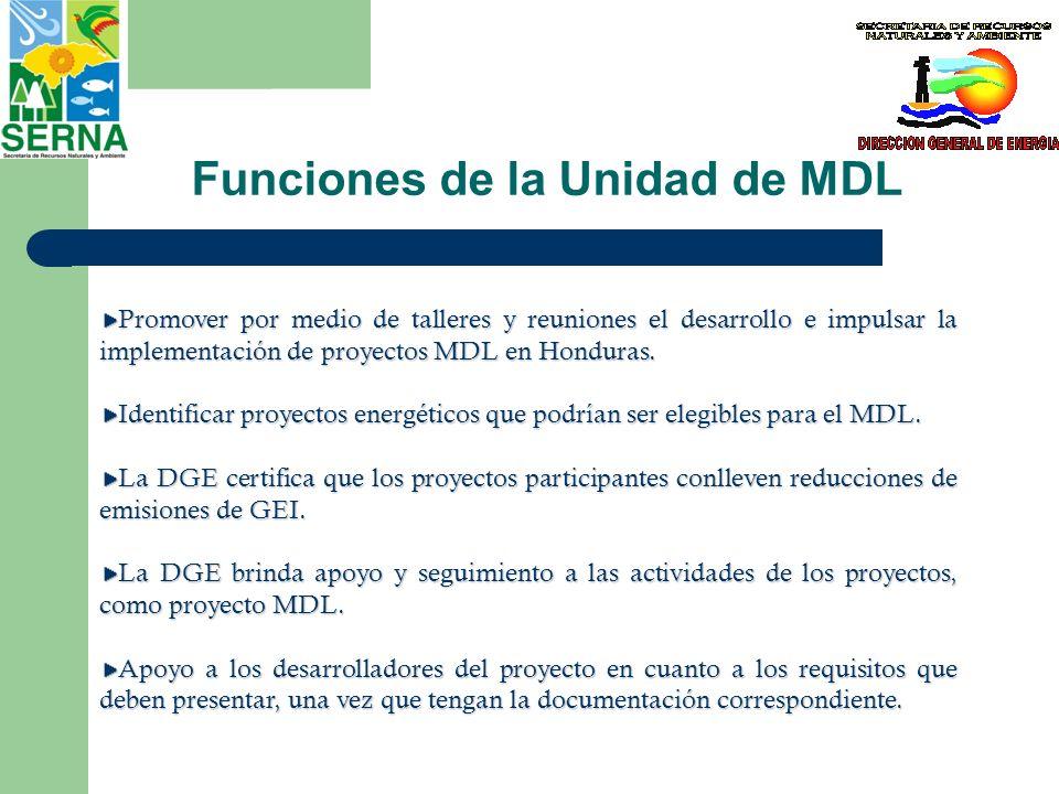 Funciones de la Unidad de MDL Promover por medio de talleres y reuniones el desarrollo e impulsar la implementación de proyectos MDL en Honduras. Iden