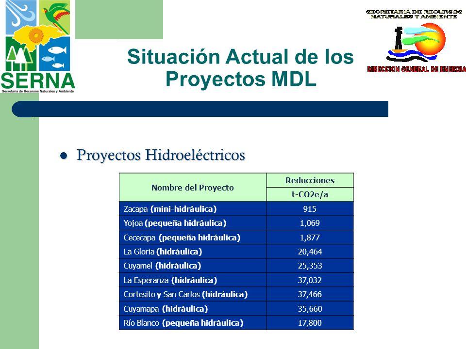Situación Actual de los Proyectos MDL Proyectos de cogeneración y captura de metano Proyectos de cogeneración y captura de metano Nombre del Proyecto Reducciones t-CO2e/a La Grecia (cogeneración biomasa)204,832* Santa Matilde (cogeneración)36,305 EECOPALSA (recuperación de metano)23,023 Cervecería Hondureña (captura de metano)13,034