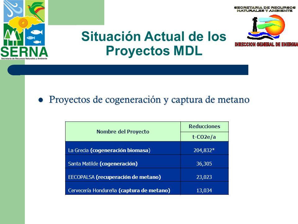 Situación Actual de los Proyectos MDL Proyectos de cogeneración y captura de metano Proyectos de cogeneración y captura de metano Nombre del Proyecto