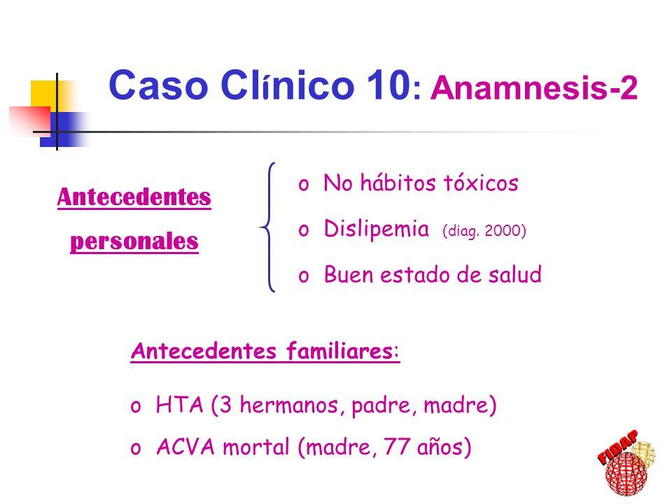 Hábitos tóxicos: NO Hábito físico: Activo Dieta: Baja en grasas Caso Cl í nico 10 : Anamnesis-3