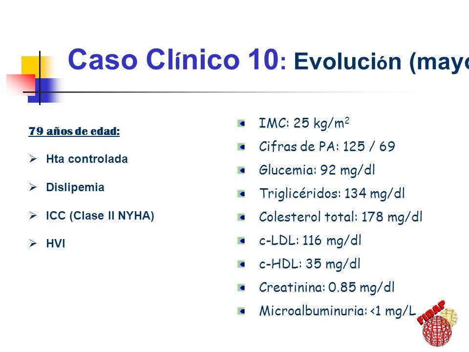Caso Cl í nico 10 : Riesgo Cardiovascular Ligero 5-10% : C-HDL < 43 mg/dl INSUFICIENCIA CARDÍACA compensada