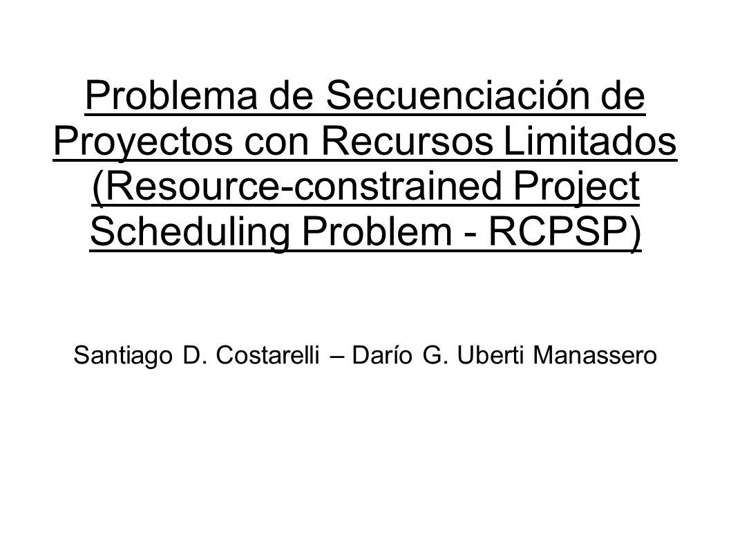 Problema de Secuenciación de Proyectos con Recursos Limitados (Resource-constrained Project Scheduling Problem - RCPSP) Santiago D. Costarelli – Darío