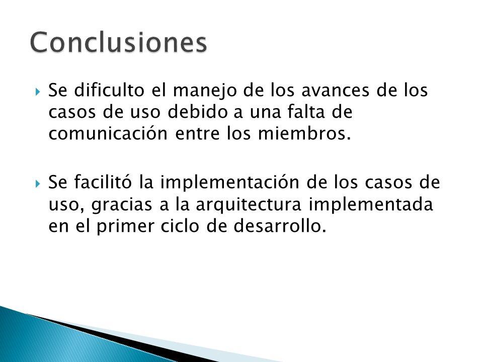 Se dificulto el manejo de los avances de los casos de uso debido a una falta de comunicación entre los miembros.
