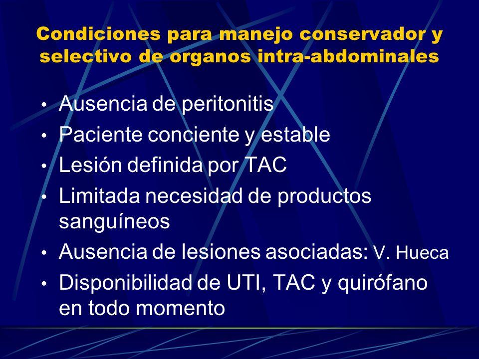 Condiciones para manejo conservador y selectivo de organos intra-abdominales Ausencia de peritonitis Paciente conciente y estable Lesión definida por