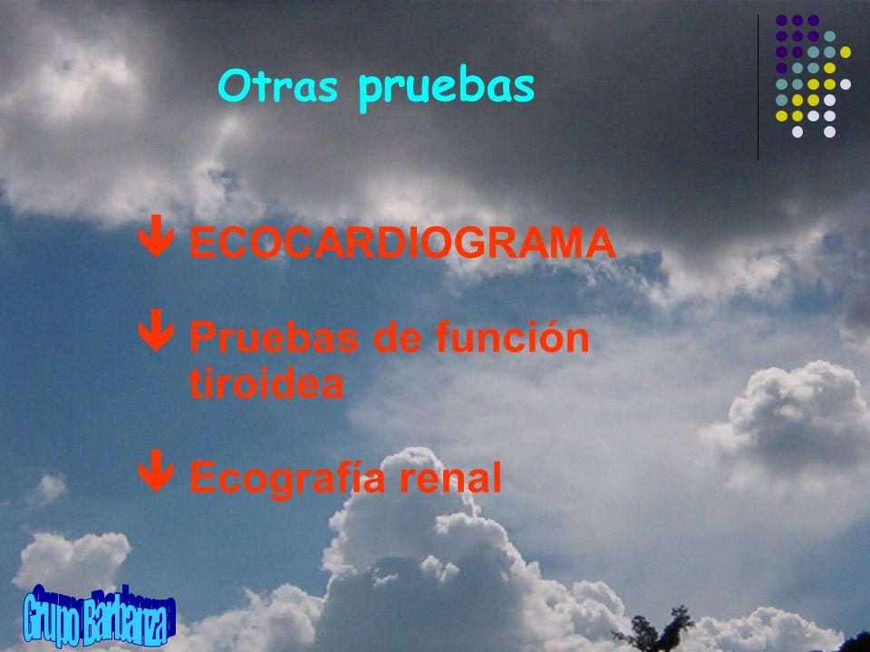 Otras pruebas ê ECOCARDIOGRAMA ê Pruebas de función tiroidea ê Ecografía renal