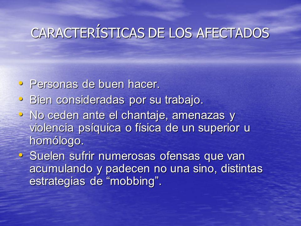 CARACTERÍSTICAS DE LOS AFECTADOS CARACTERÍSTICAS DE LOS AFECTADOS Personas de buen hacer. Personas de buen hacer. Bien consideradas por su trabajo. Bi